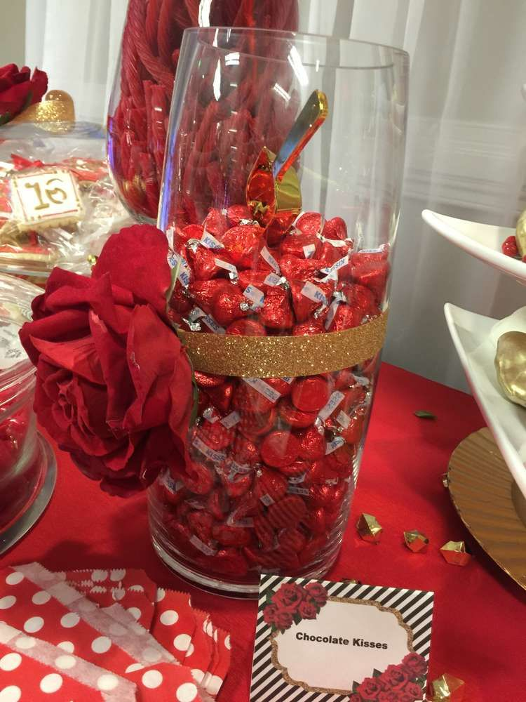 Best Chocolate Kisses At A Red White And Gold Quinceañera This Month