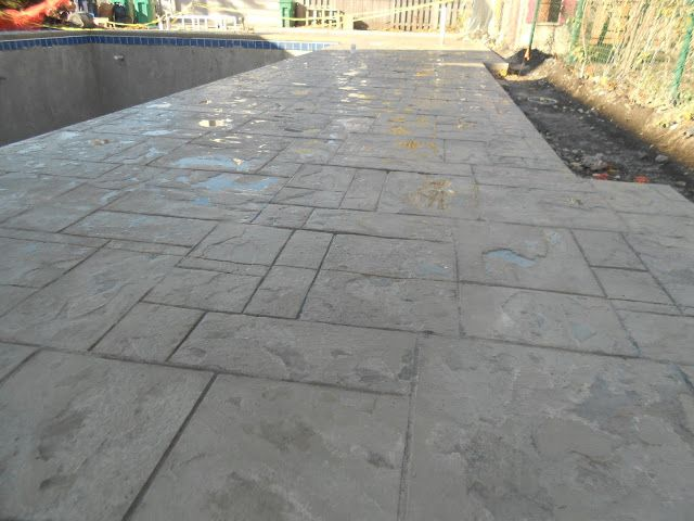 Best Ashlar Slate Stamped Pool Deck With Lanon Stone Color And This Month