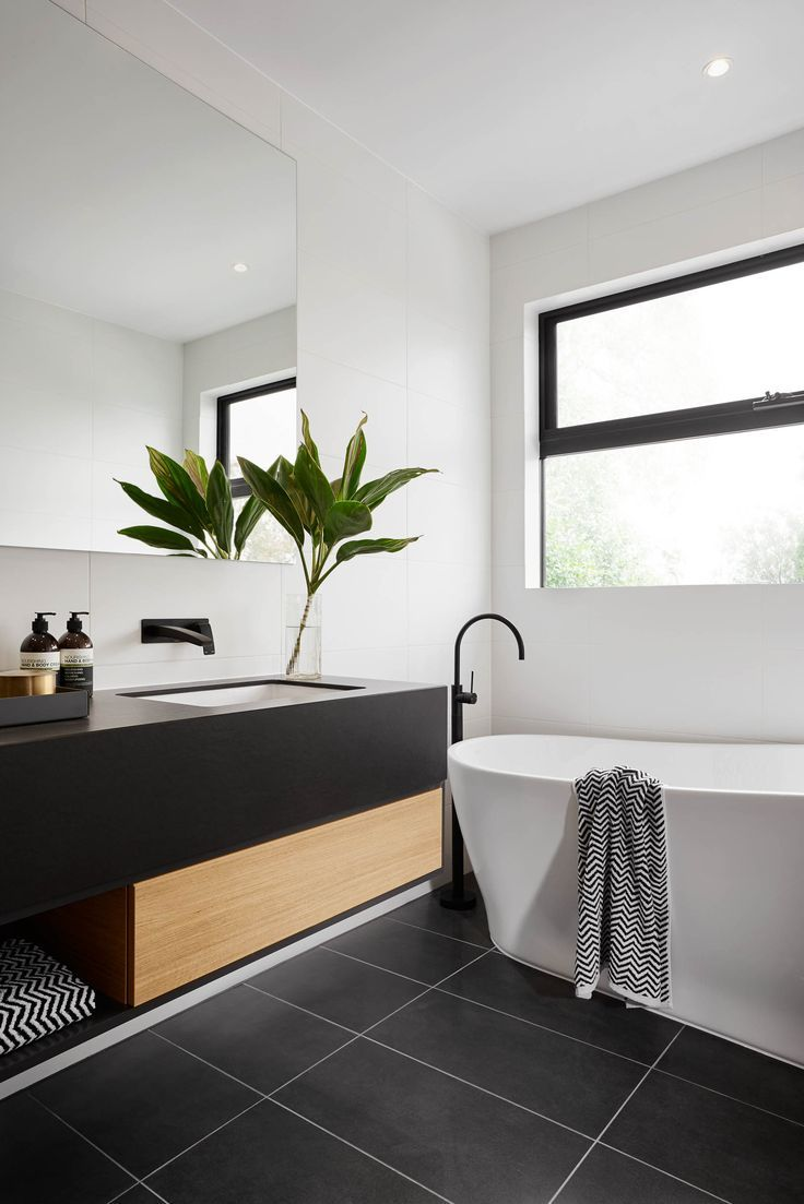 Best Modern Black And White Bathroom With Black Tile Matte This Month