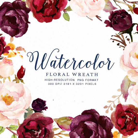 Best Watercolor Floral Wreath Marsala Small Set Individual Png This Month