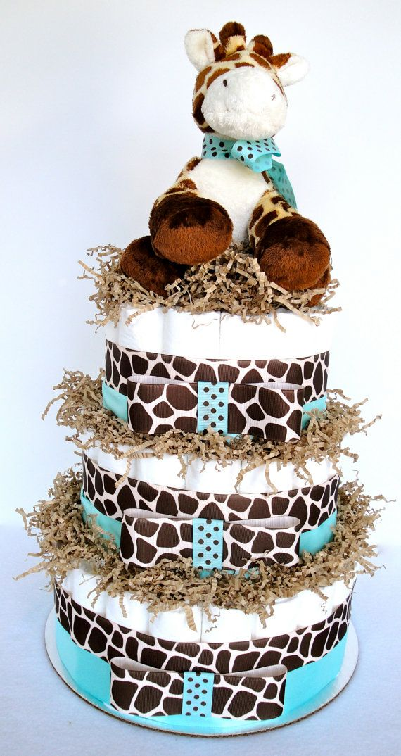 Best Giraffe Diaper Cake Giraffe Theme Tiffany Blue Brown This Month