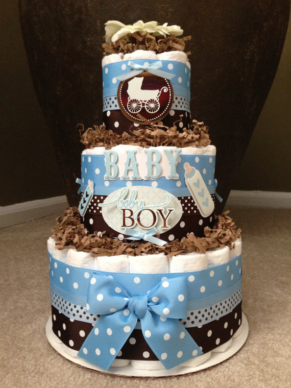 Best Blue And Brown Boy Diaper Cake For Baby Shower Decoration This Month