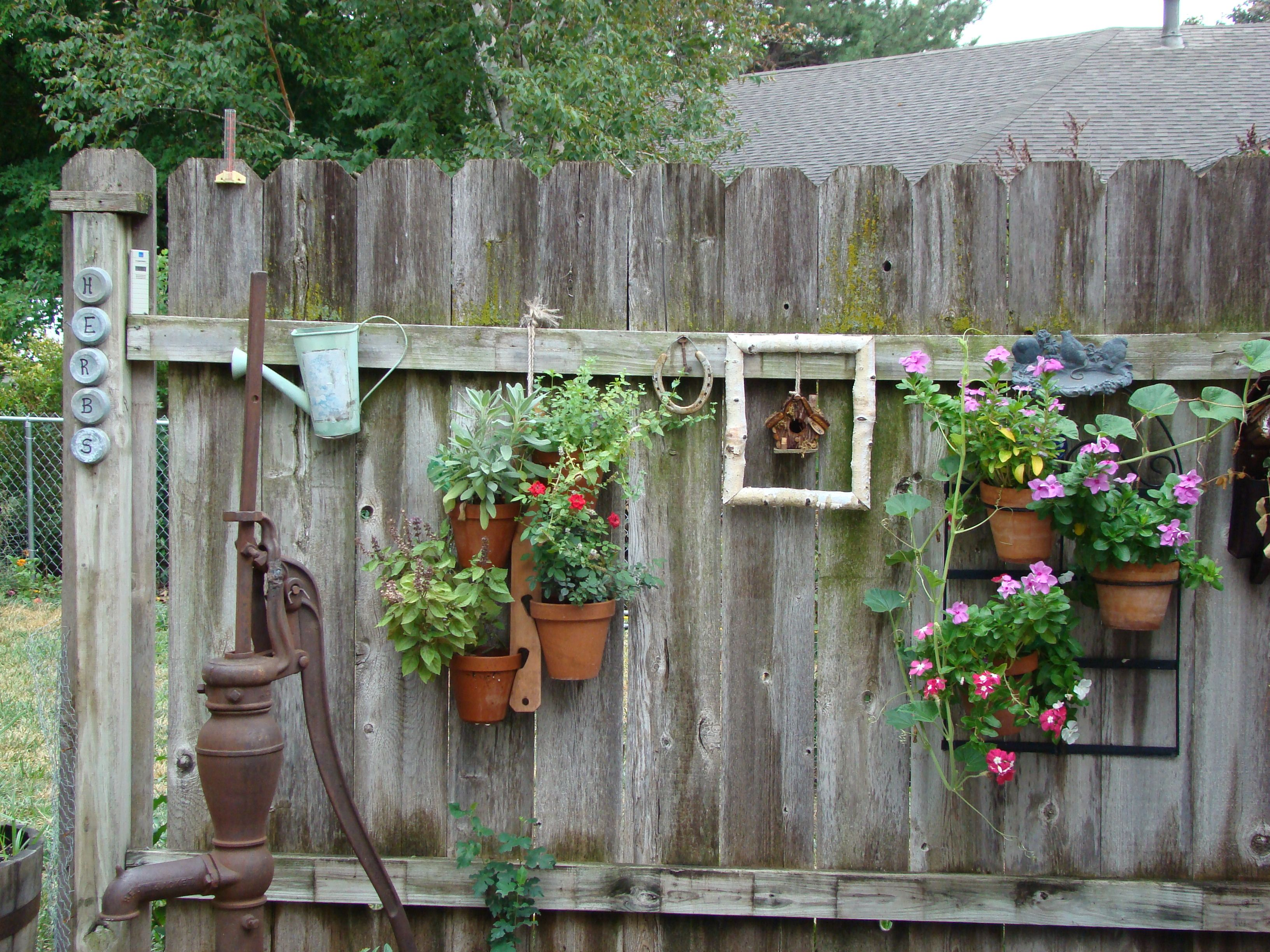Best My Patio Fence Decorated With Old Worn Out Things Chris This Month