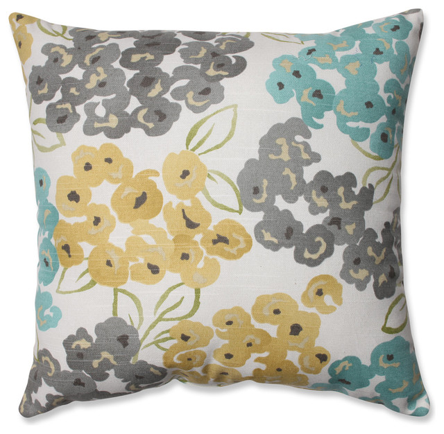 Best Floral Throw Pillow Aqua Gray And Yellow Contemporary This Month