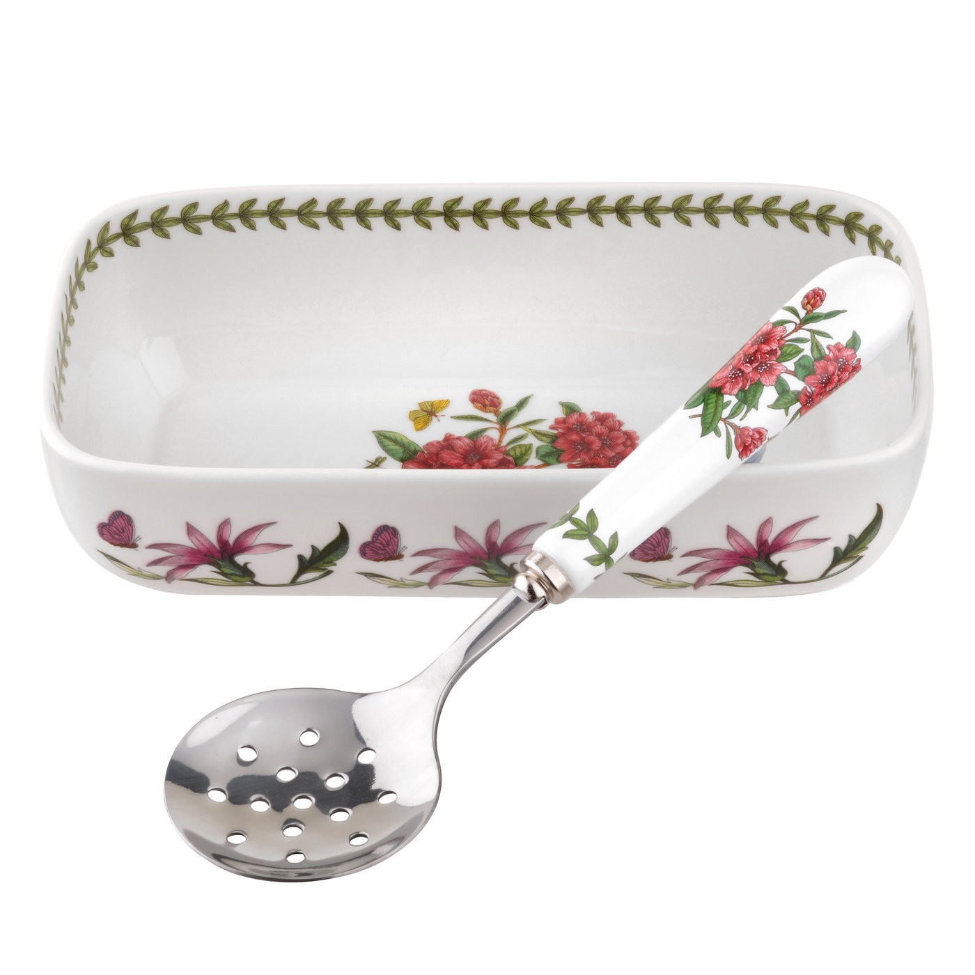 Best Portmeirion Botanic Garden Cranberry Dish With Slotted This Month