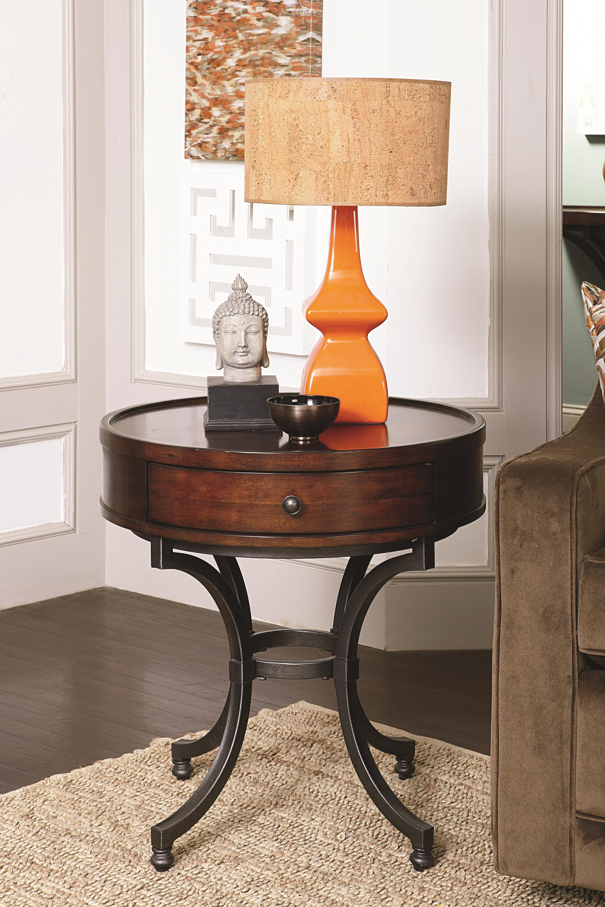 Best Round End Table With 1 Drawer By Hammary Wolf And This Month