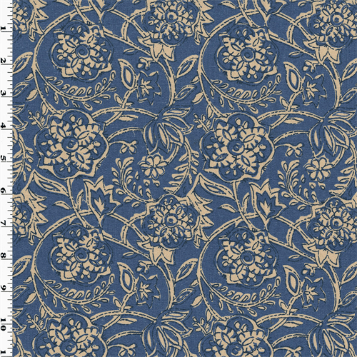 Best Blue Ivory Cotton Floral Print Woven Home Decorating This Month