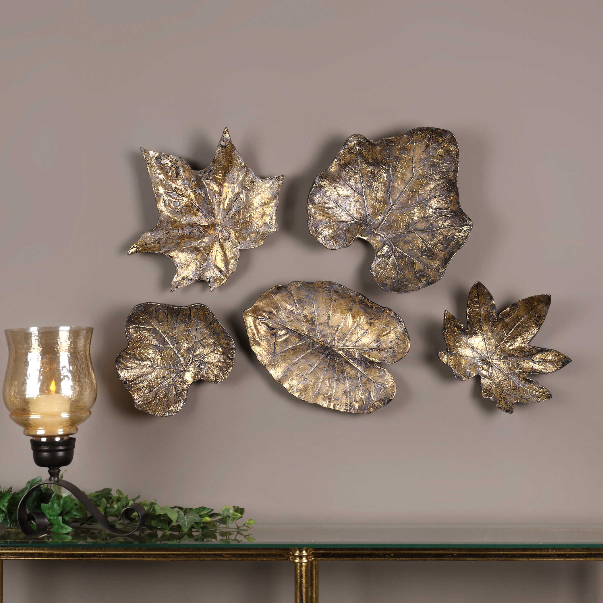Best Uttermost Bronze Leaves Wall Art Set 5 This Month
