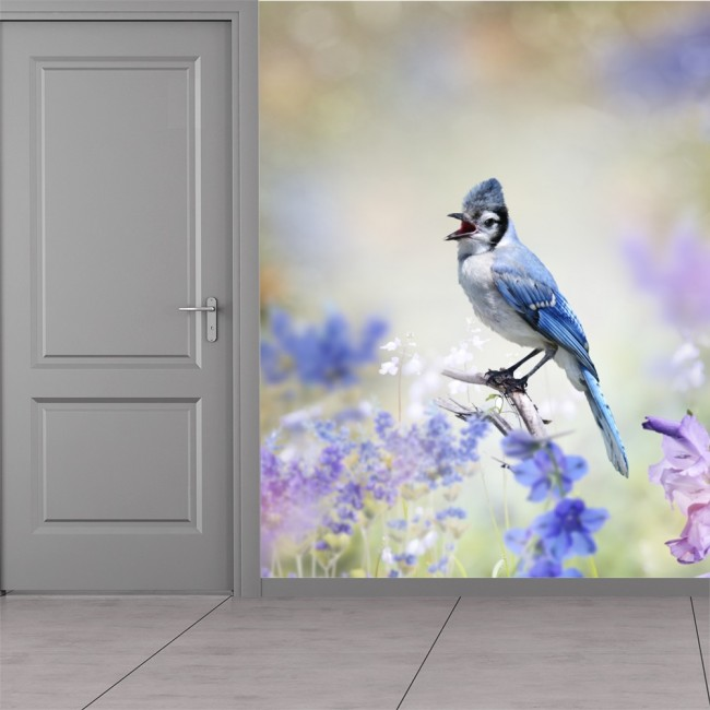 Best Blue Bird Wall Mural Purple Flower Photo Wallpaper Girls This Month