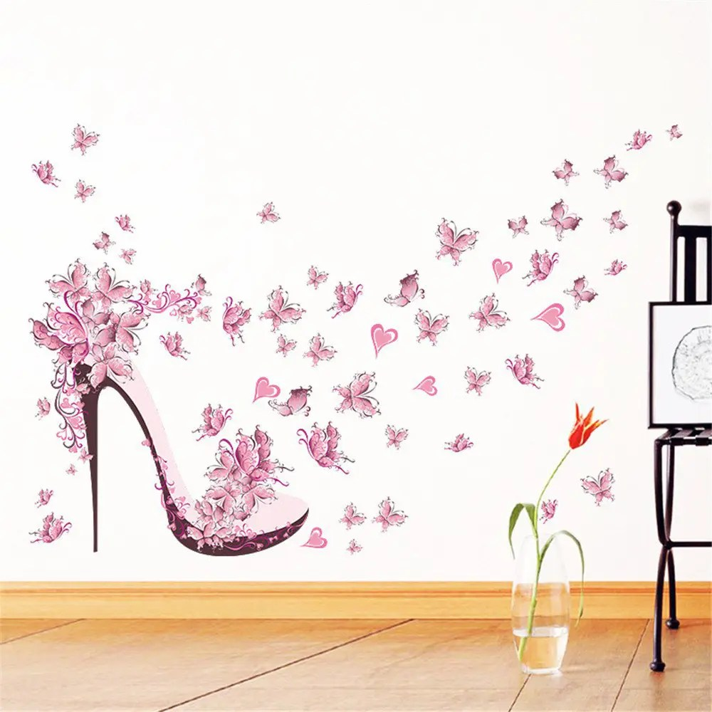 Best 2018 Pink Butterfly High Heels Wall Art Sticker Home This Month
