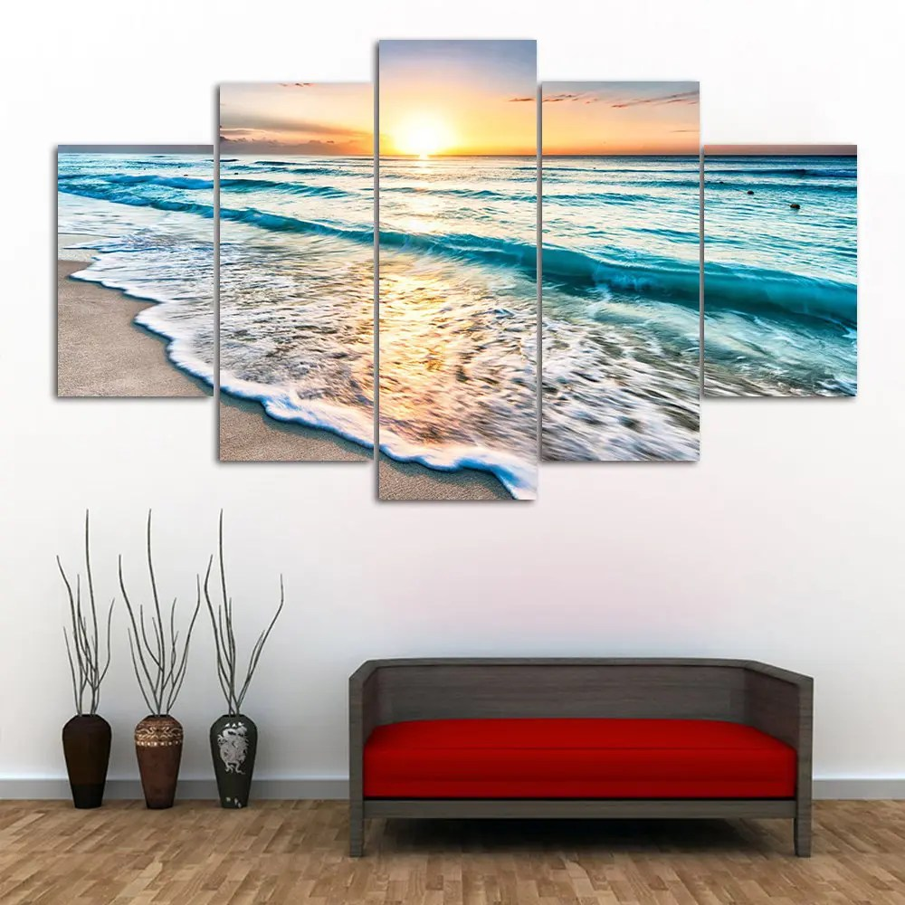 Best 2018 Sunset Beach Print Split Canvas Wall Art Paintings In This Month