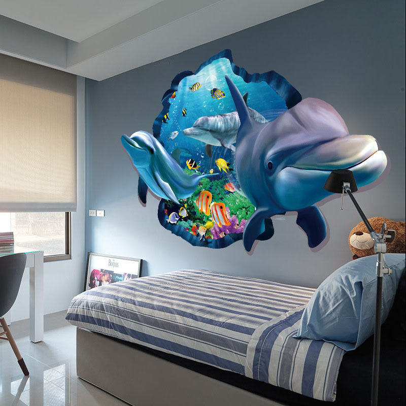 Best 3D Art Wall Sticker Ocean Dolphin Removable Vinyl Decal This Month