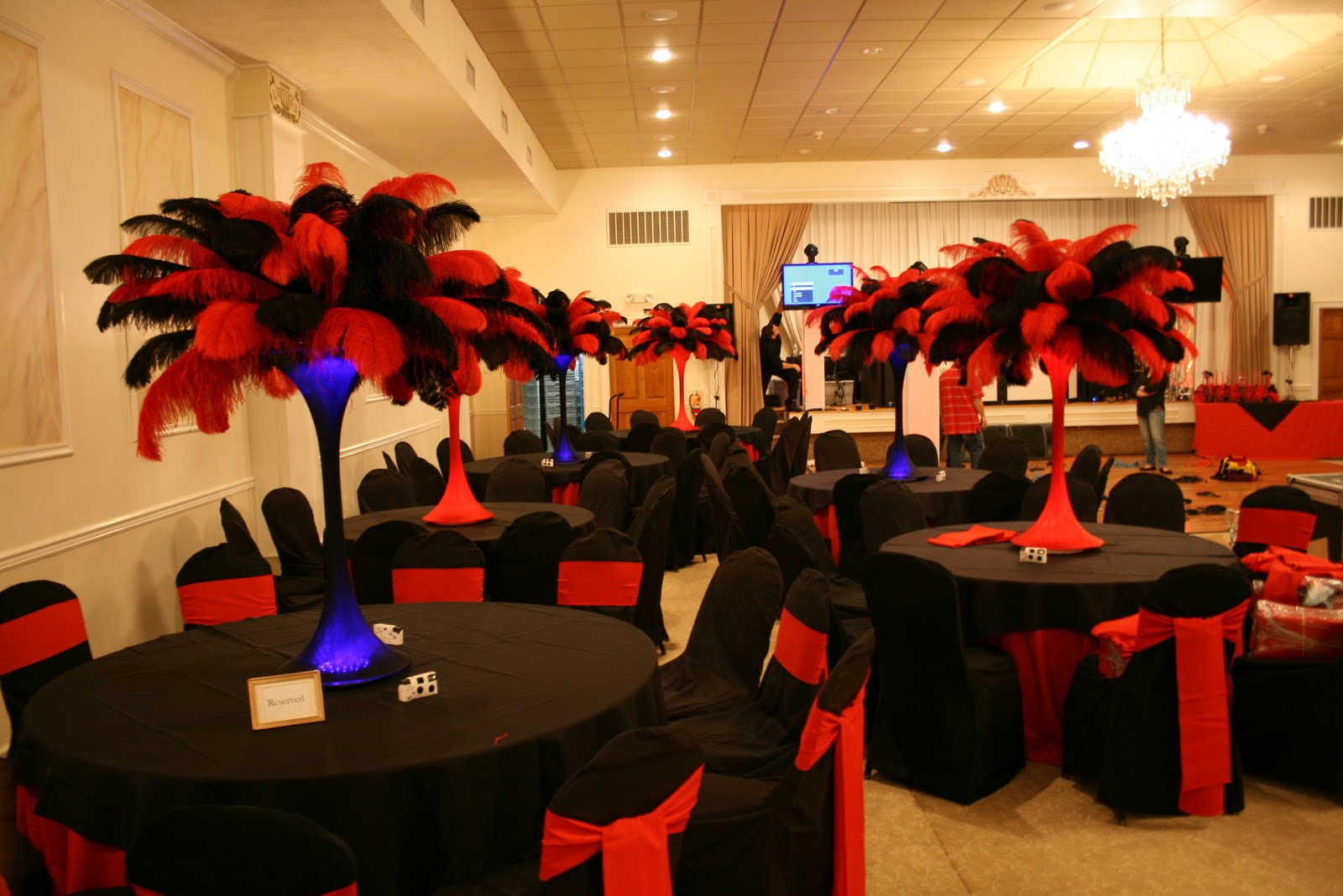 Best The Feather Diva Red And Black Casino Centerpieces This Month