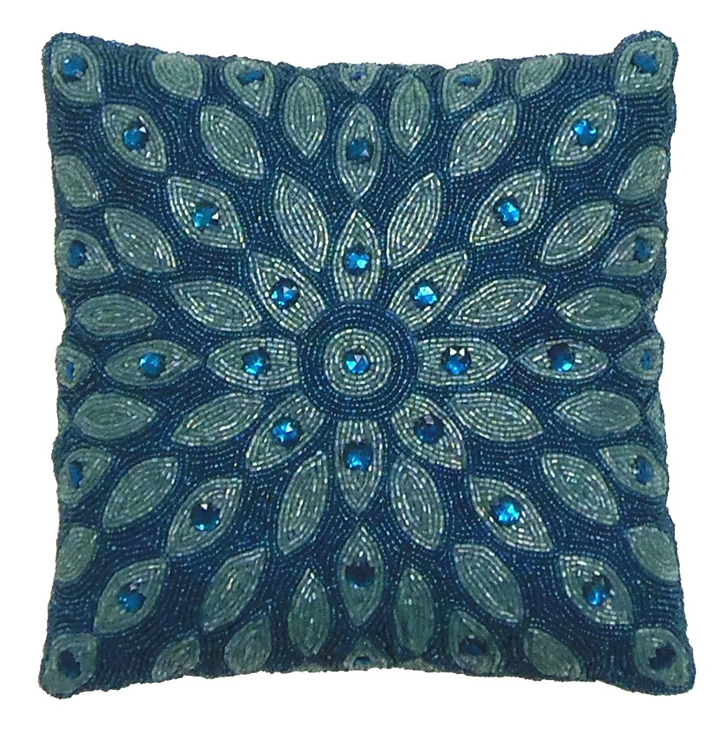 Best Cotton Craft Peacock Hand Beaded Decorative Pillow 12X12 This Month