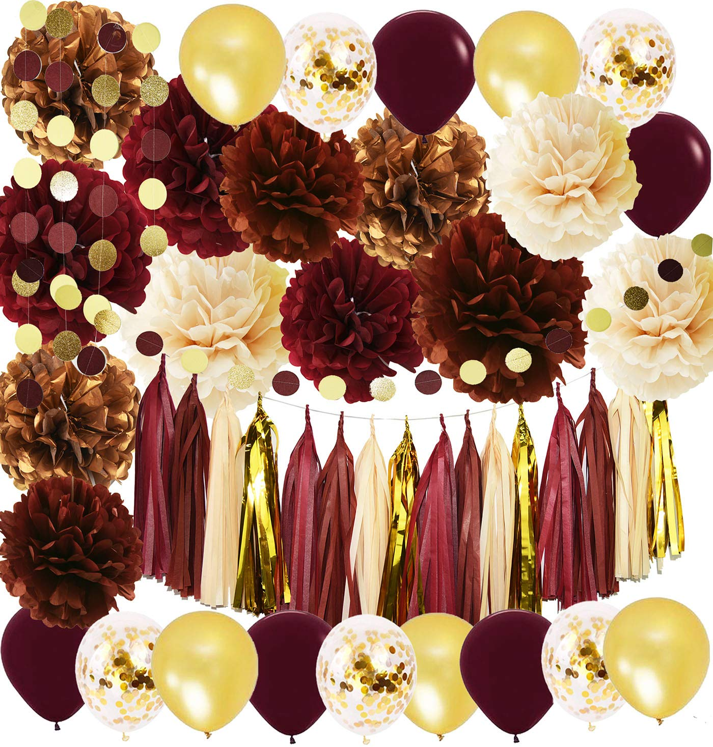 Best Wine Burgundy Champagne Gold Bridal Shower Decorations This Month
