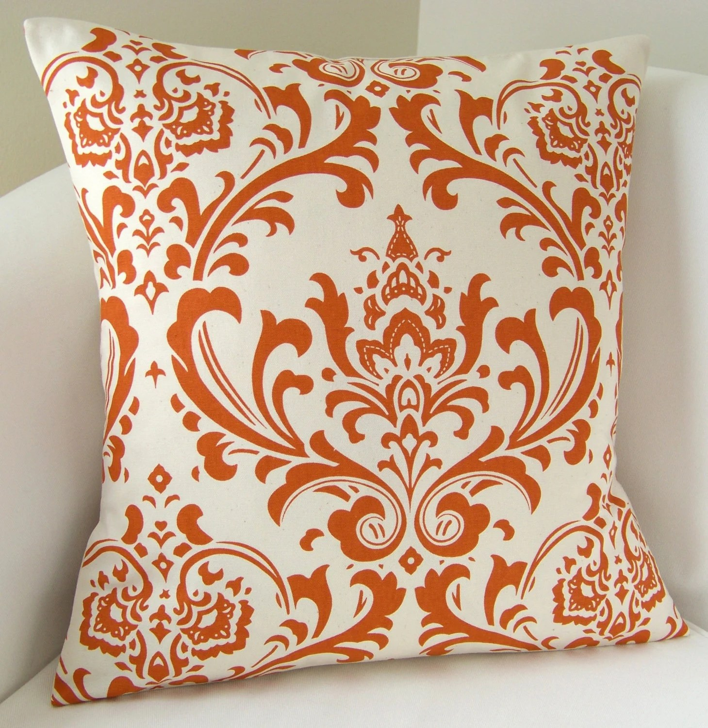 Best Orange Pillow Cover Damask Decorative Pillow Accent By This Month