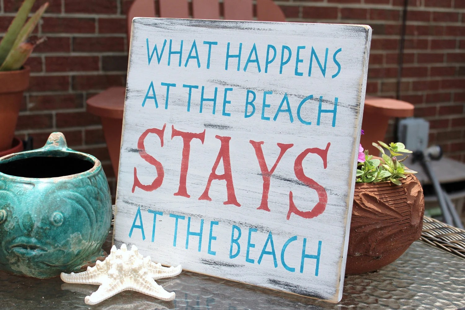 Best Beach Sign Nautical Coastal Decor Coral And Turquoise This Month