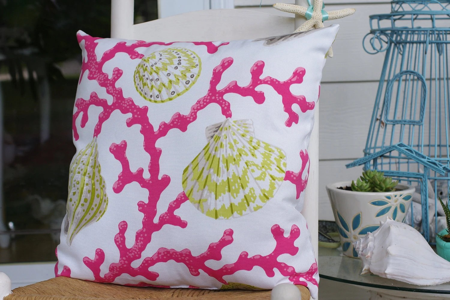 Best Beach Decor Coral And Seashell Pillow 18X18 Pink And Green This Month