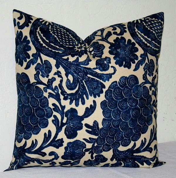 Best Navy Blue And Beige 18X18 Inch Decorative Pillows Accent This Month
