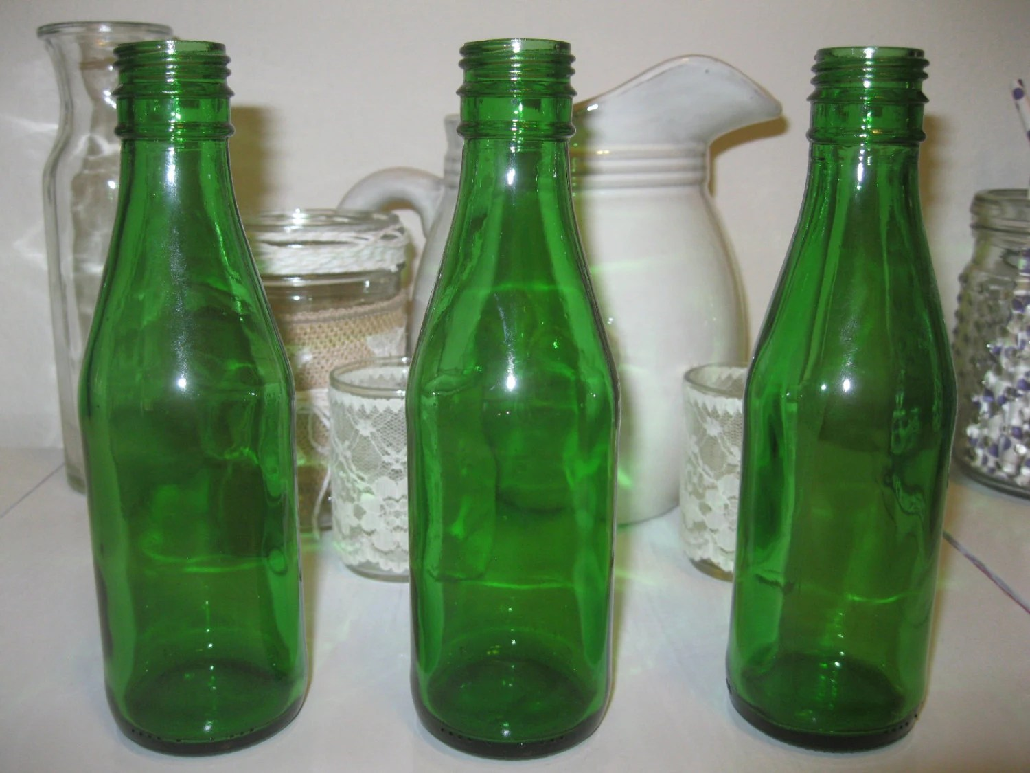 Best Three Green Glass Decorative Colored 6 Glass By Bertolibridal This Month