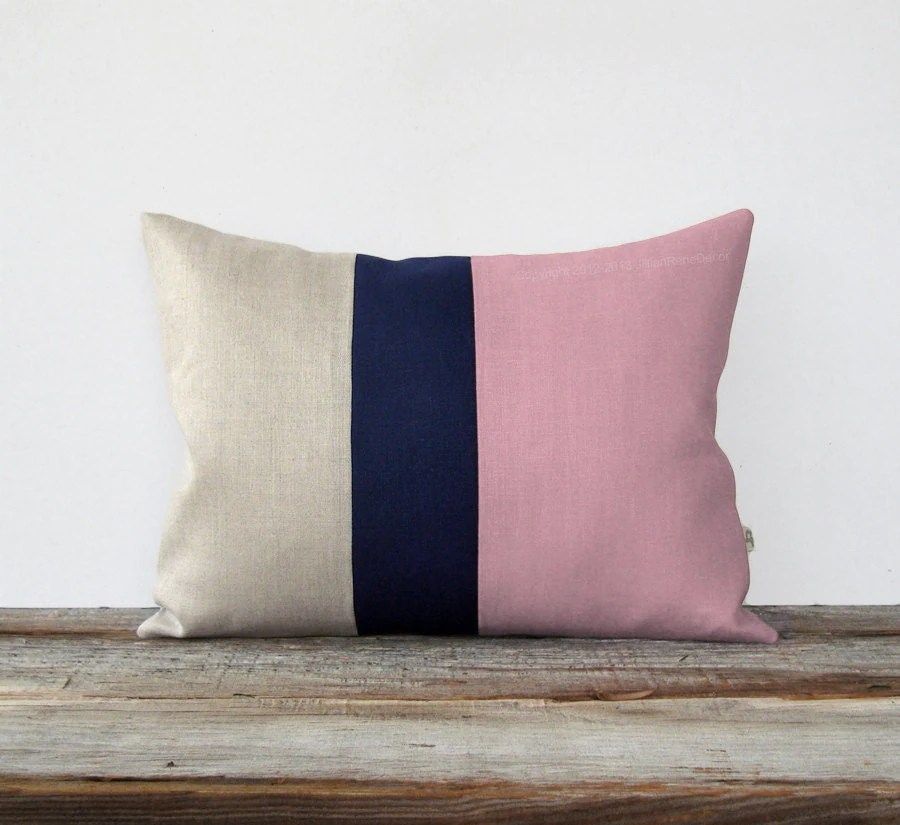 Best Preppy Pink Color Block Pillow With Navy Linen Stripe By This Month