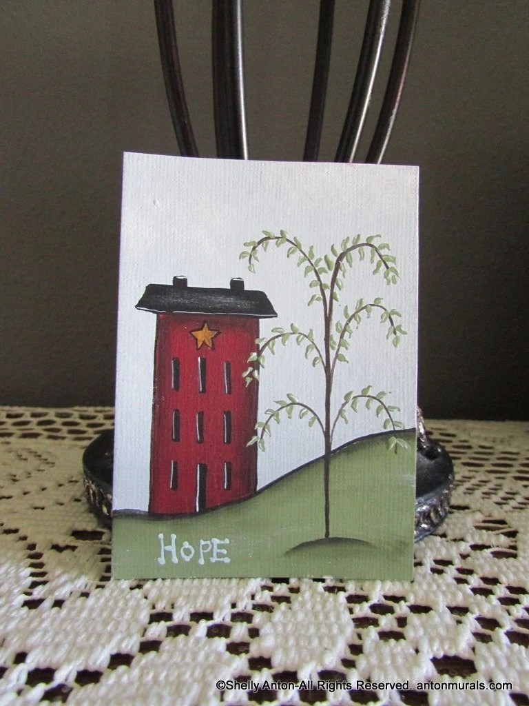 Best Aceo Primitive Saltbox House Home Decor Hope Sign Original This Month