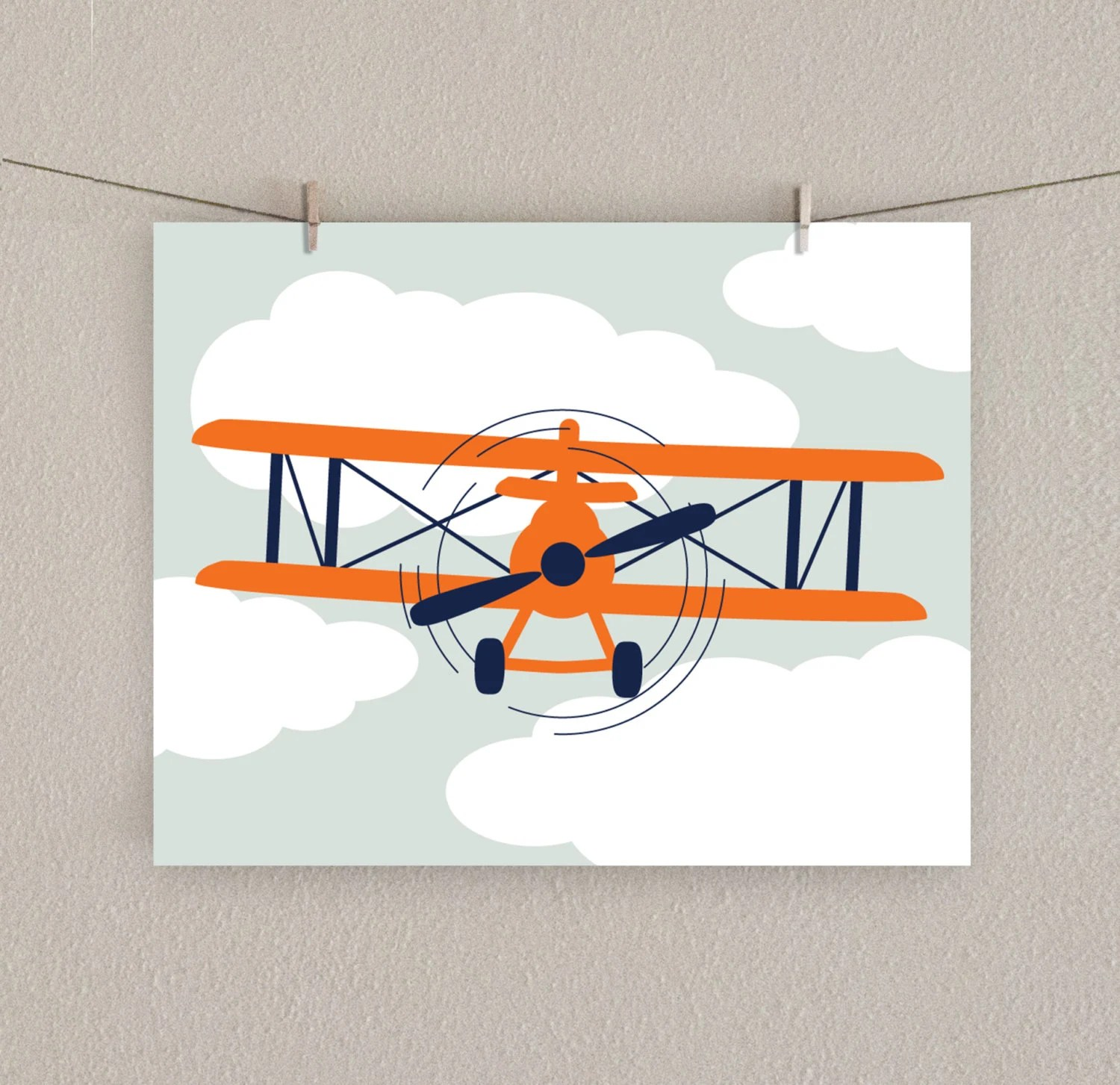 Best Airplane Decor Boy Nursery Art Print Orange Navy Blue This Month