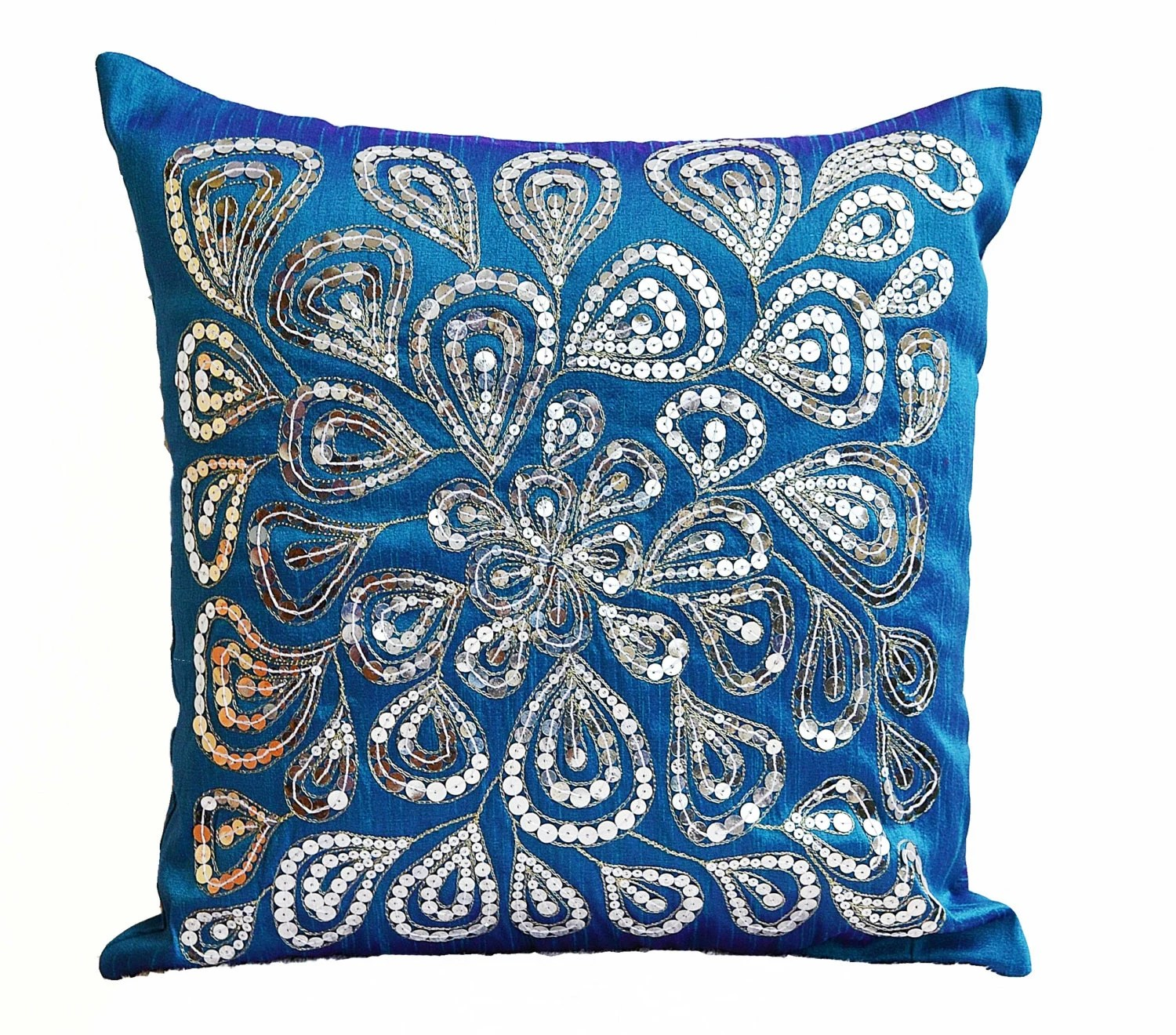 Best Blue Throw Pillows With Silver Sequins Dazzling Pillow This Month