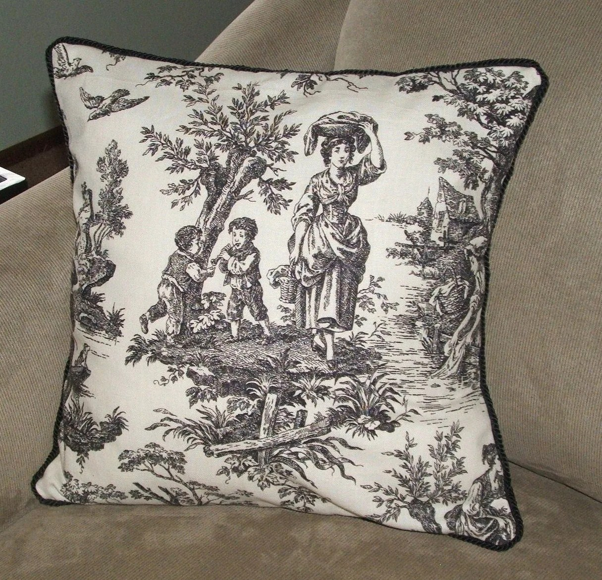 Best Black And White Toile Decorative Pillow By This Month