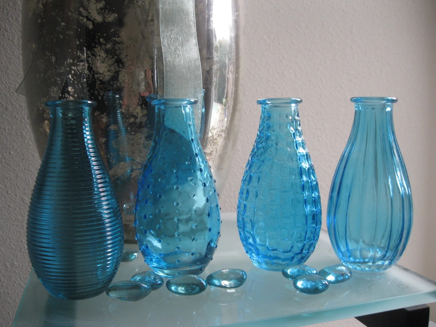 Best 4 Blue Decorative Colored Glass Bottles Floral By This Month