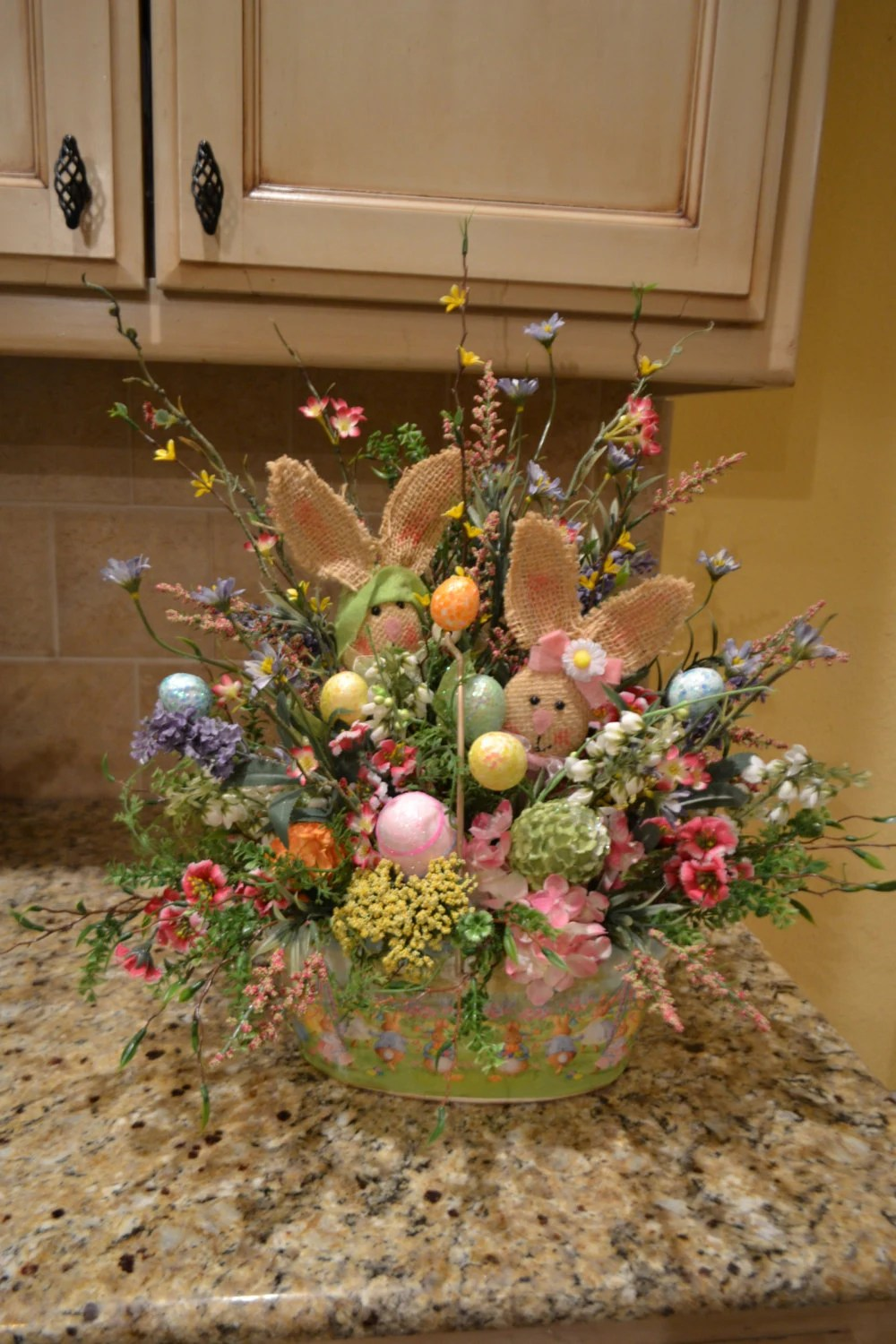 Best Metal Easter Basket With Burlap Bunnies This Month