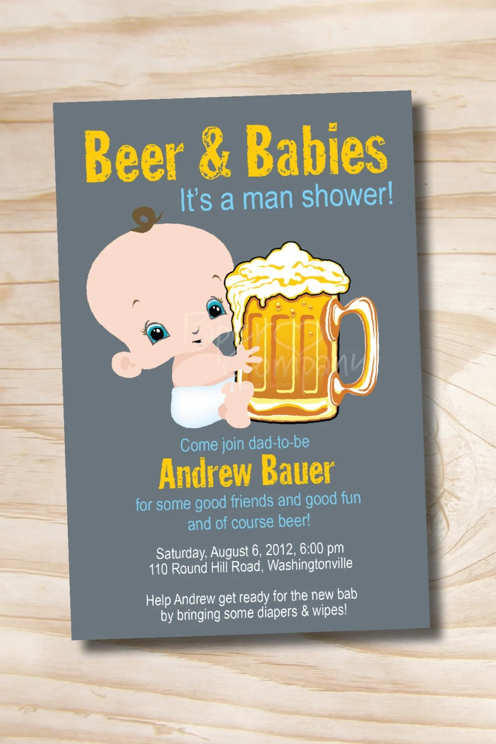 Best Man Shower Beer And Babies Diaper Party Invitation Printable This Month