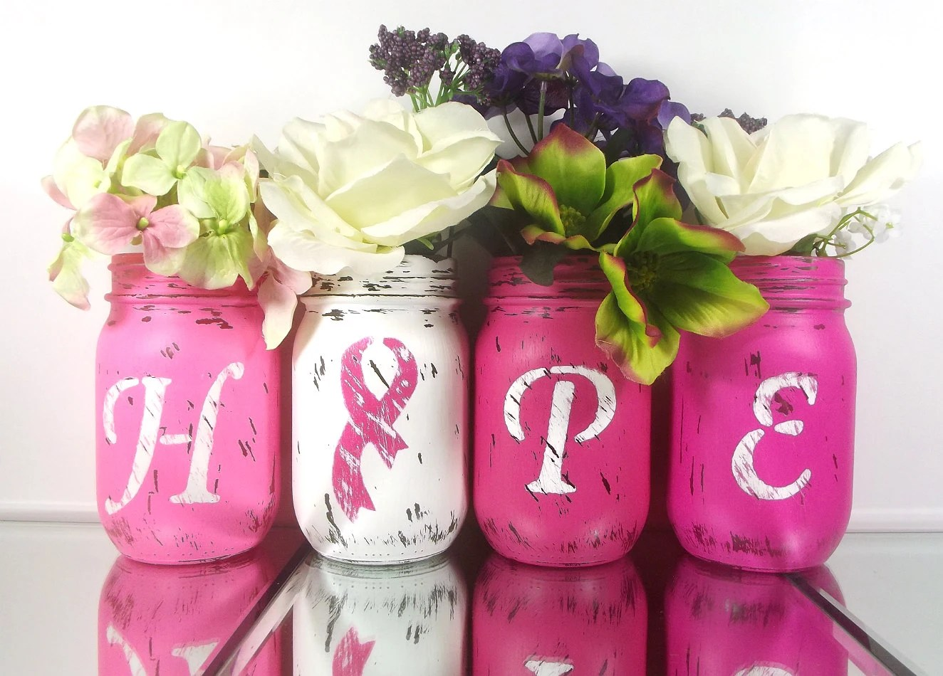 Best Hope Painted Mason Jars Br**St Cancer Awareness Decor Pink This Month
