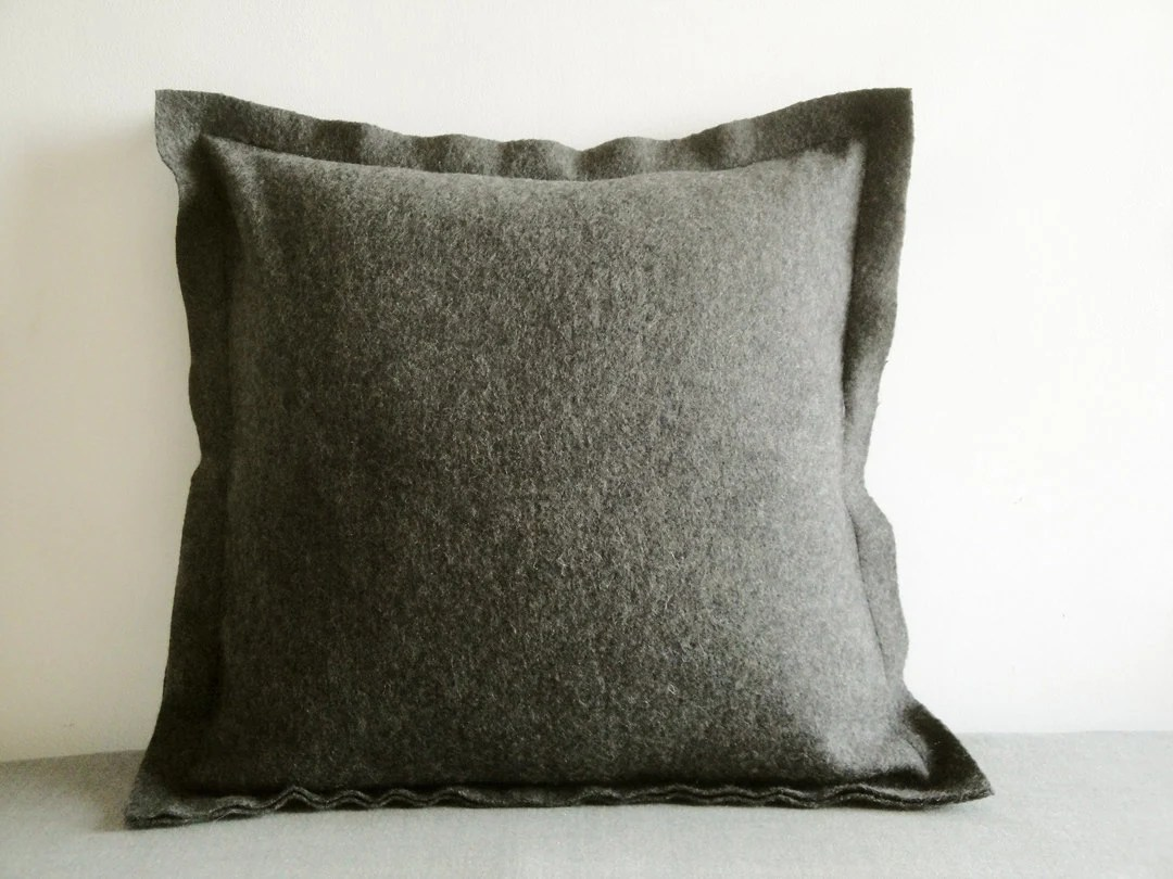 Best Dark Grey Felt Cushion Cover Decorative Pillow Accent Throw This Month