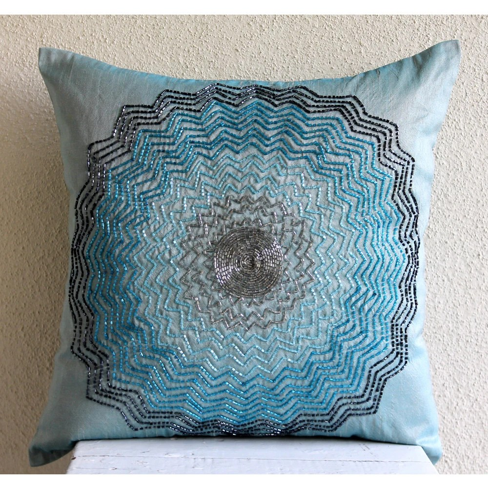 Best Luxury Blue Decorative Pillows Cover Beaded Flower Medallion This Month