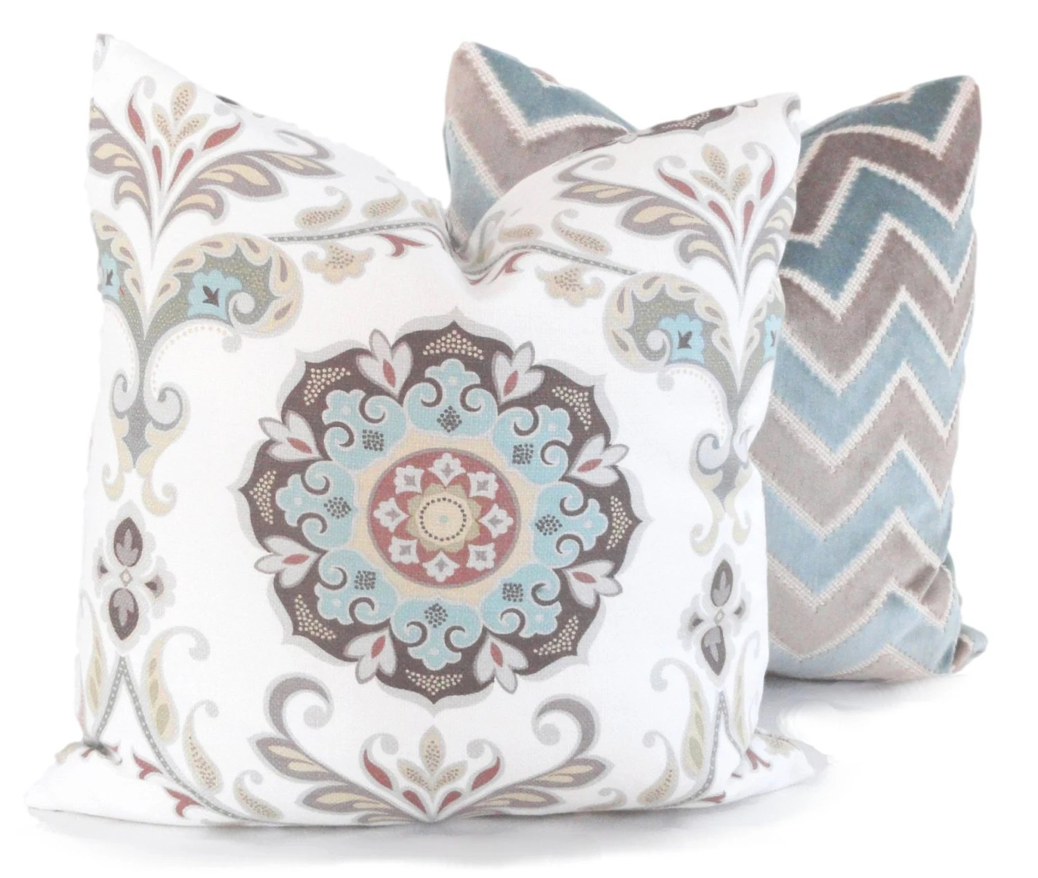 Best Aqua And Tan Suzani Decorative Pillow Cover 20X20 Accent This Month