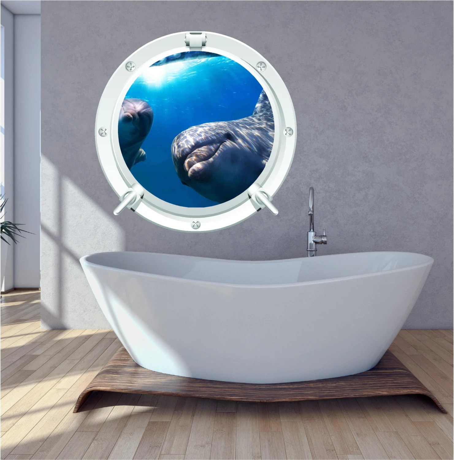 Best Dolphin Bathroom Bedroom Porthole Wall Art Sticker Decal Under This Month