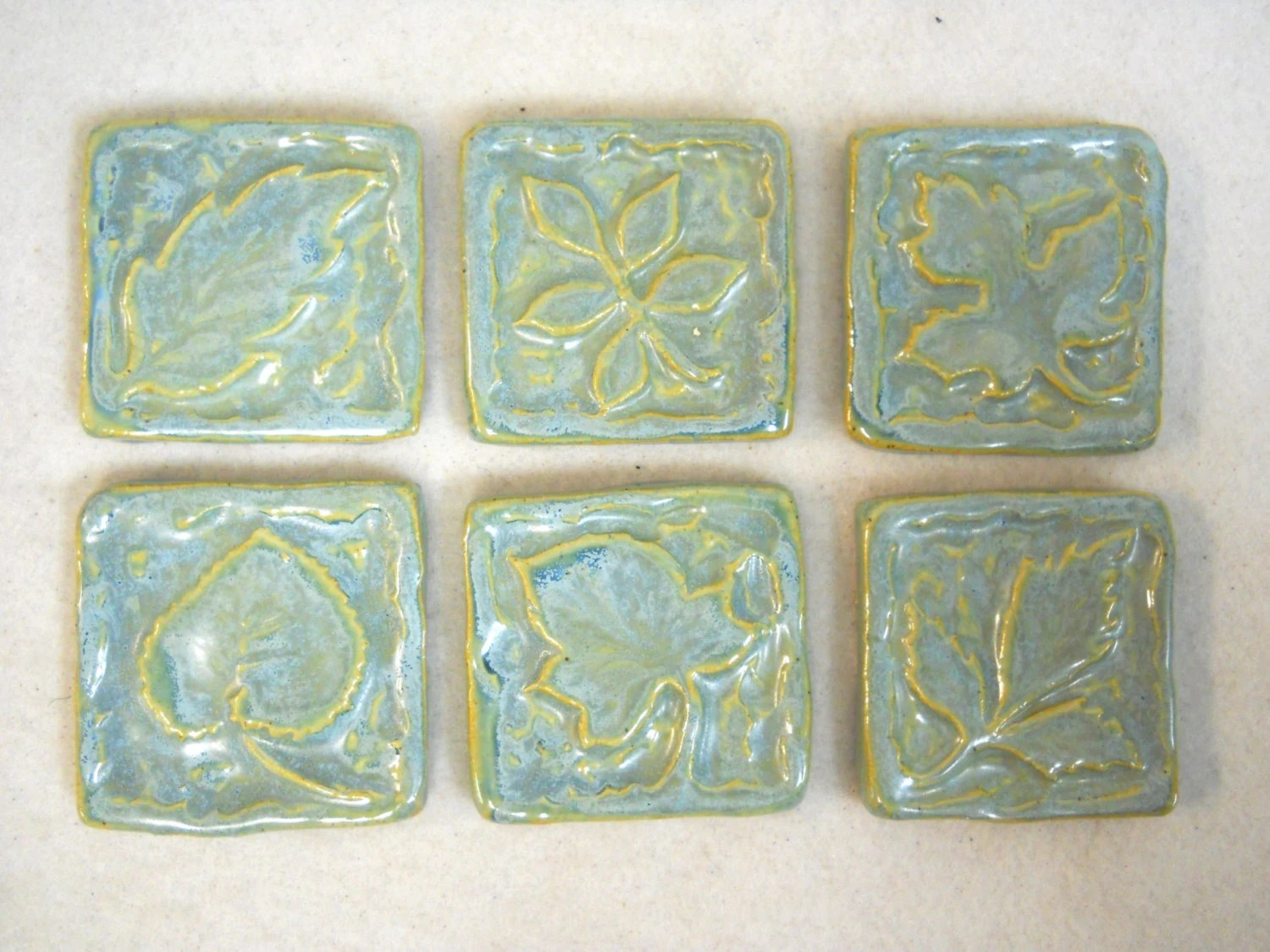 Best Handmade Ceramic Tiles Decorative Leaf Patterns Sky Blue This Month