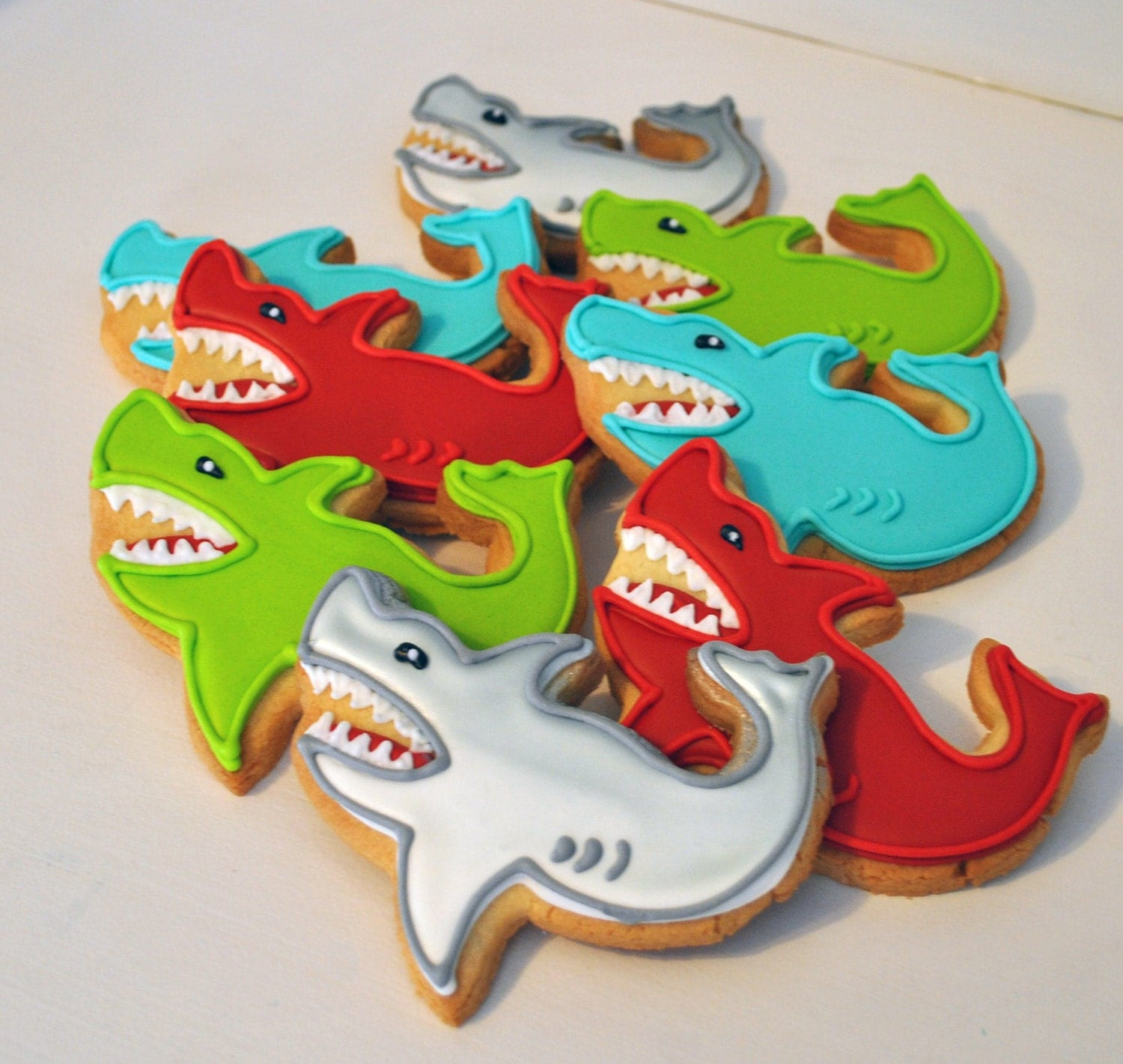 Best Shark Hand Decorated Sugar Cookies By Baked On Etsy This Month