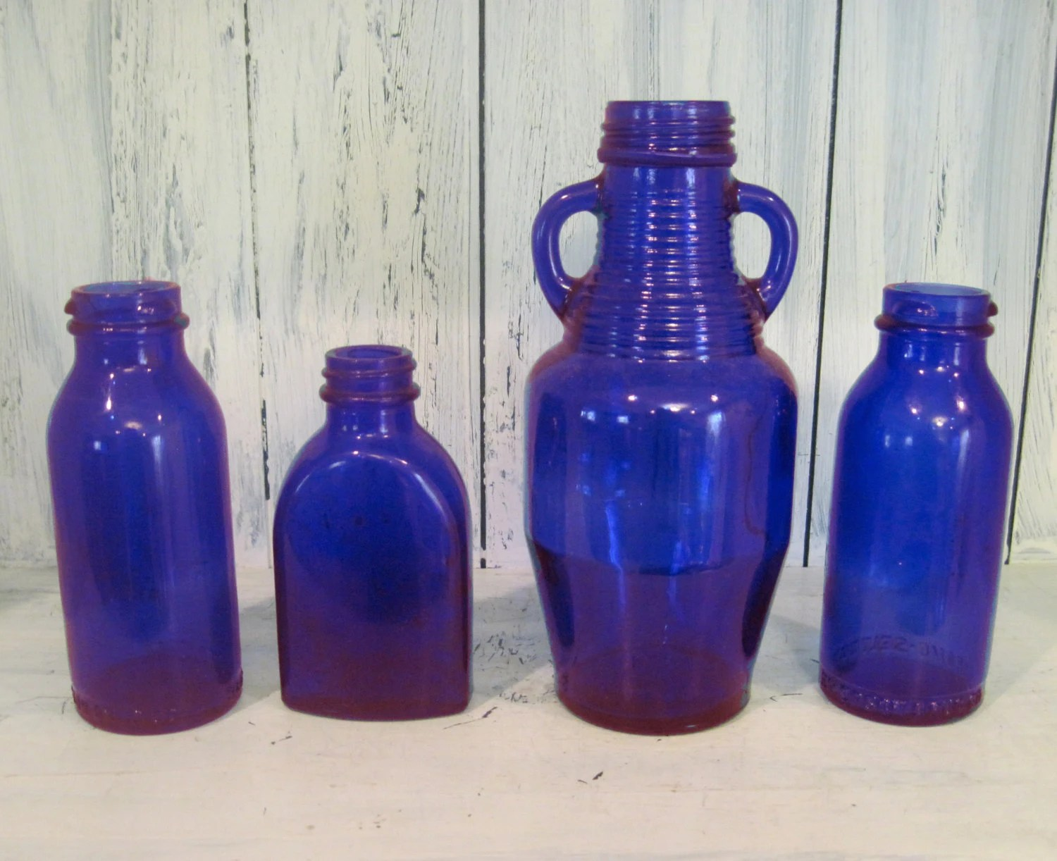 Best Vintage Decorative Colored Glass Bottle Set Of 4 Dark Blue This Month