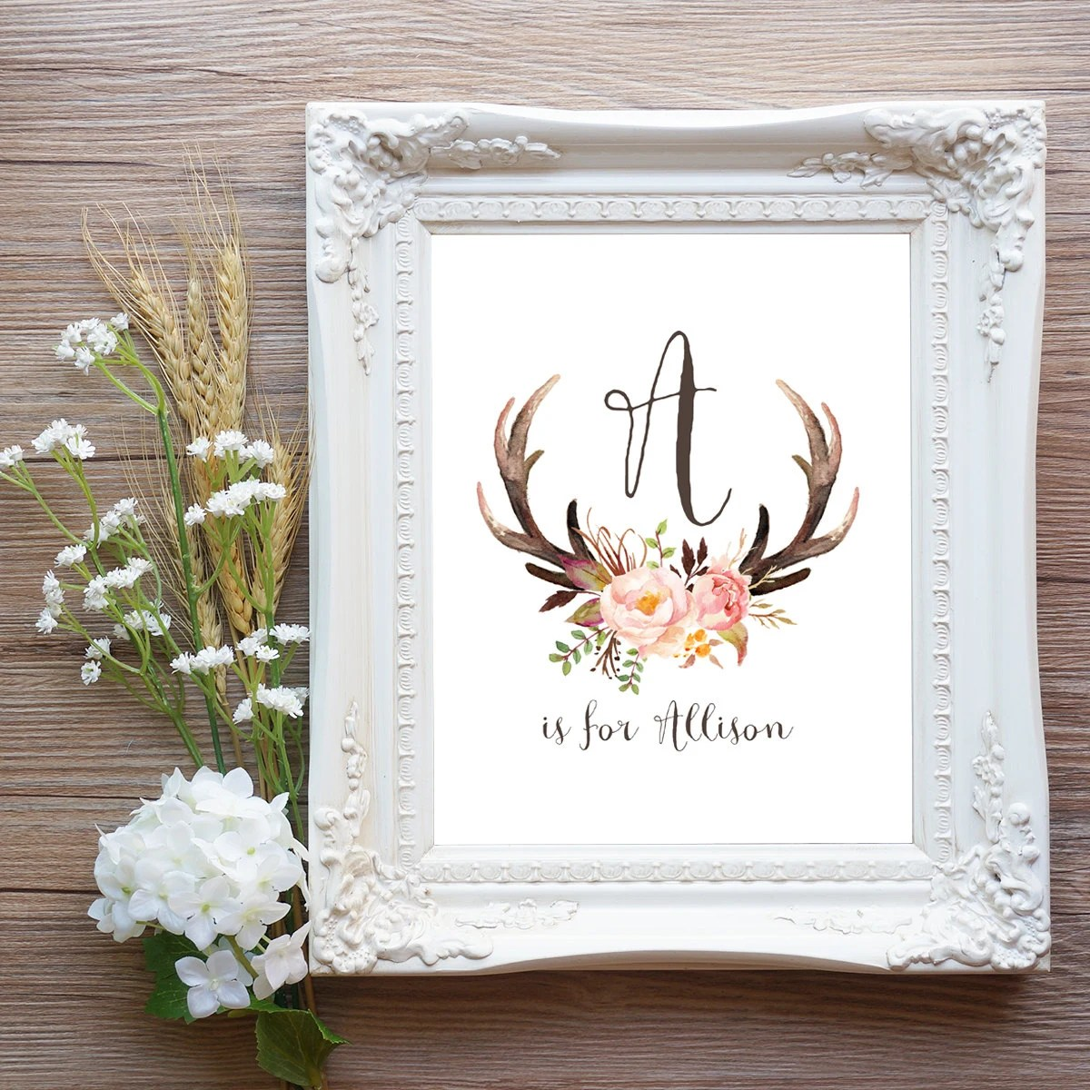 Best Antler Nursery Wall Art Printable Baby Name By This Month