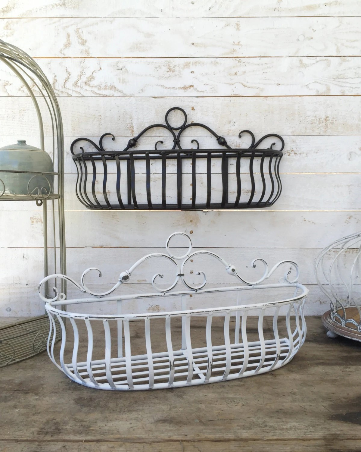 Best Metal Wall Basket Kitchen Home Decor Distressed Black This Month