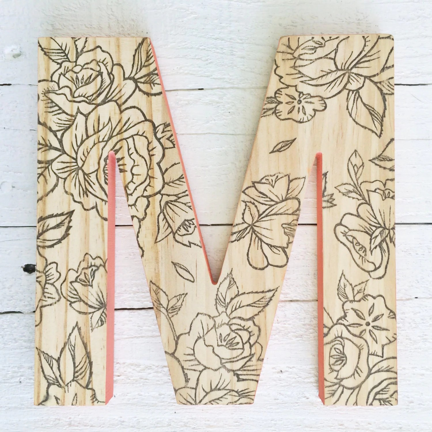 Best Decorative Wall Letter Hanging Wooden Letters Floral Print This Month