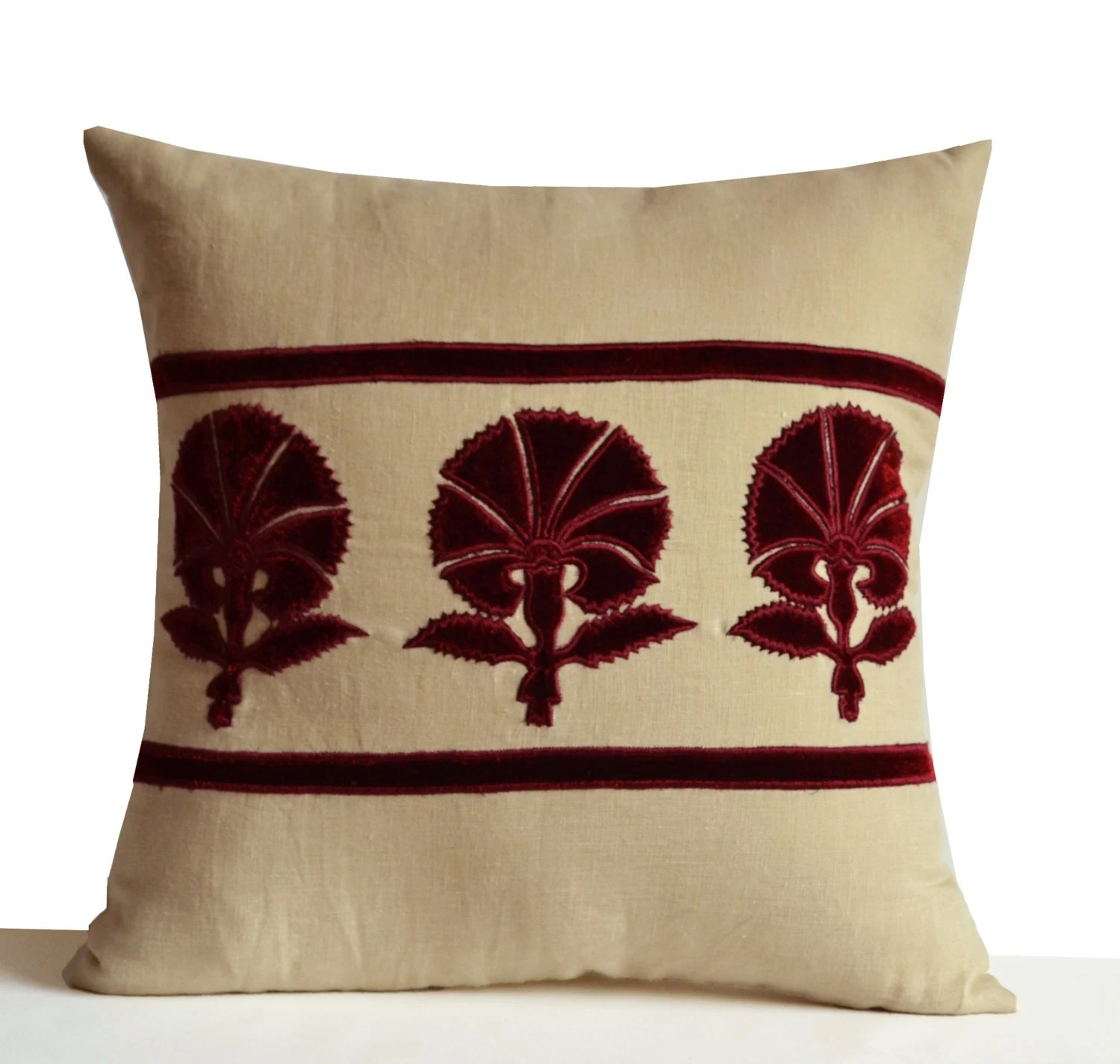 Best Decorative Throw Pillow Grey Beige Linen With Deep Red Velvet This Month