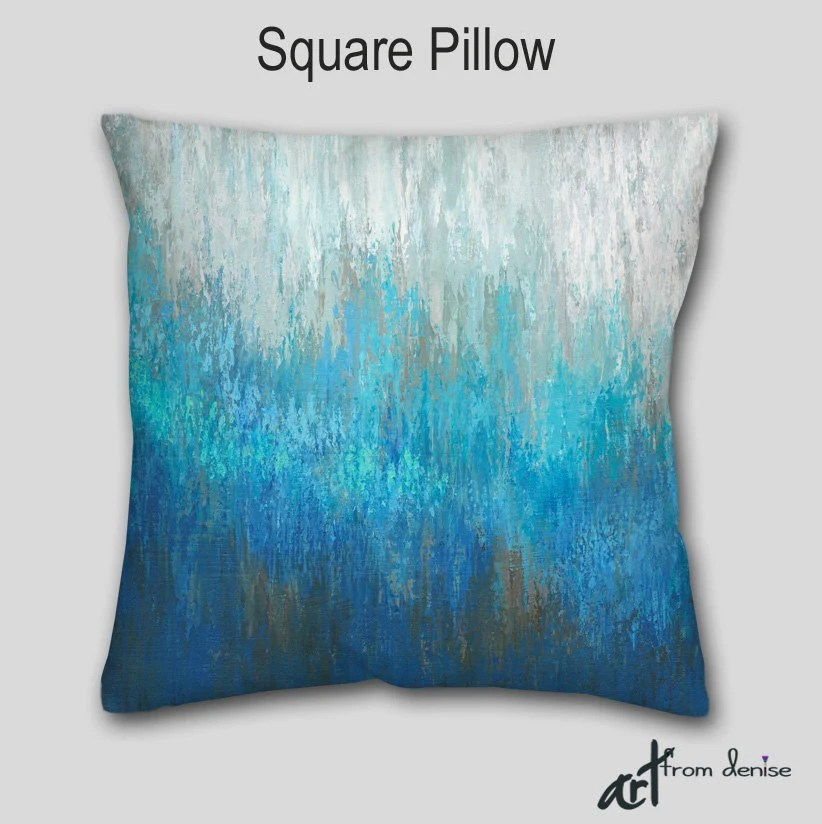Best Throw Pillow Teal Turquoise Aqua Abstract Art Accent This Month