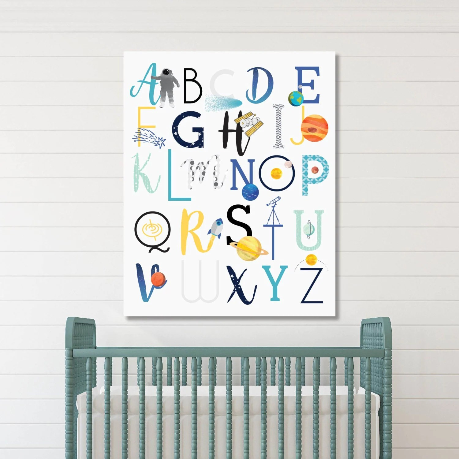 Best Abc Wall Art Space Nursery Decor Baby Nursery Art Kids Room This Month