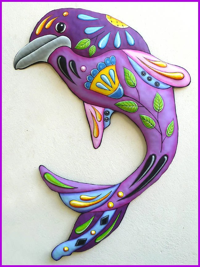 Best Painted Metal Dolphin Wall Hanging Metal Decor Metal Art This Month