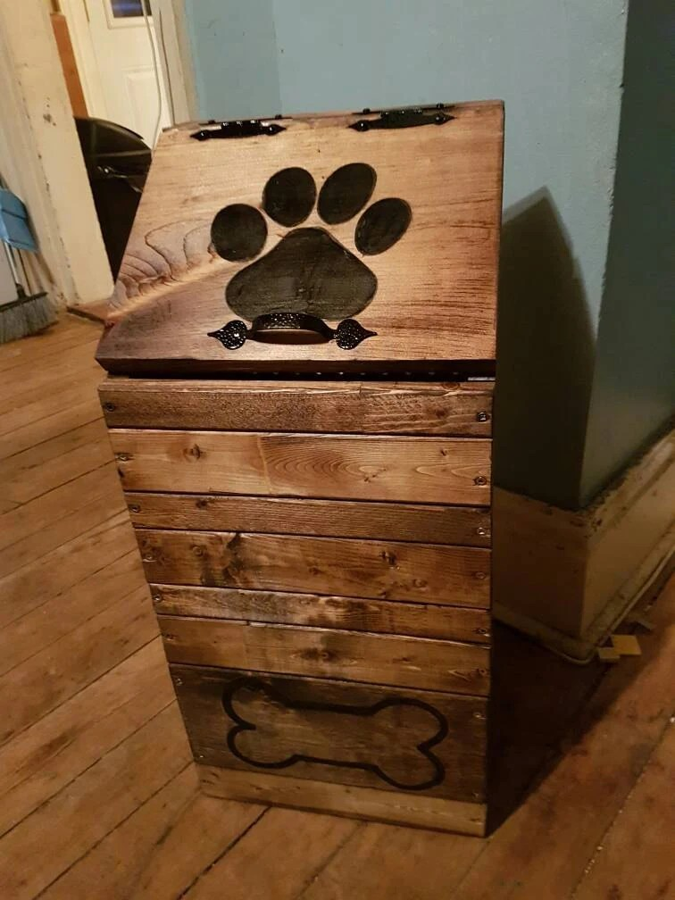 Best Wooden Dog Food Storage Container Dog Food Bin Pet Food This Month