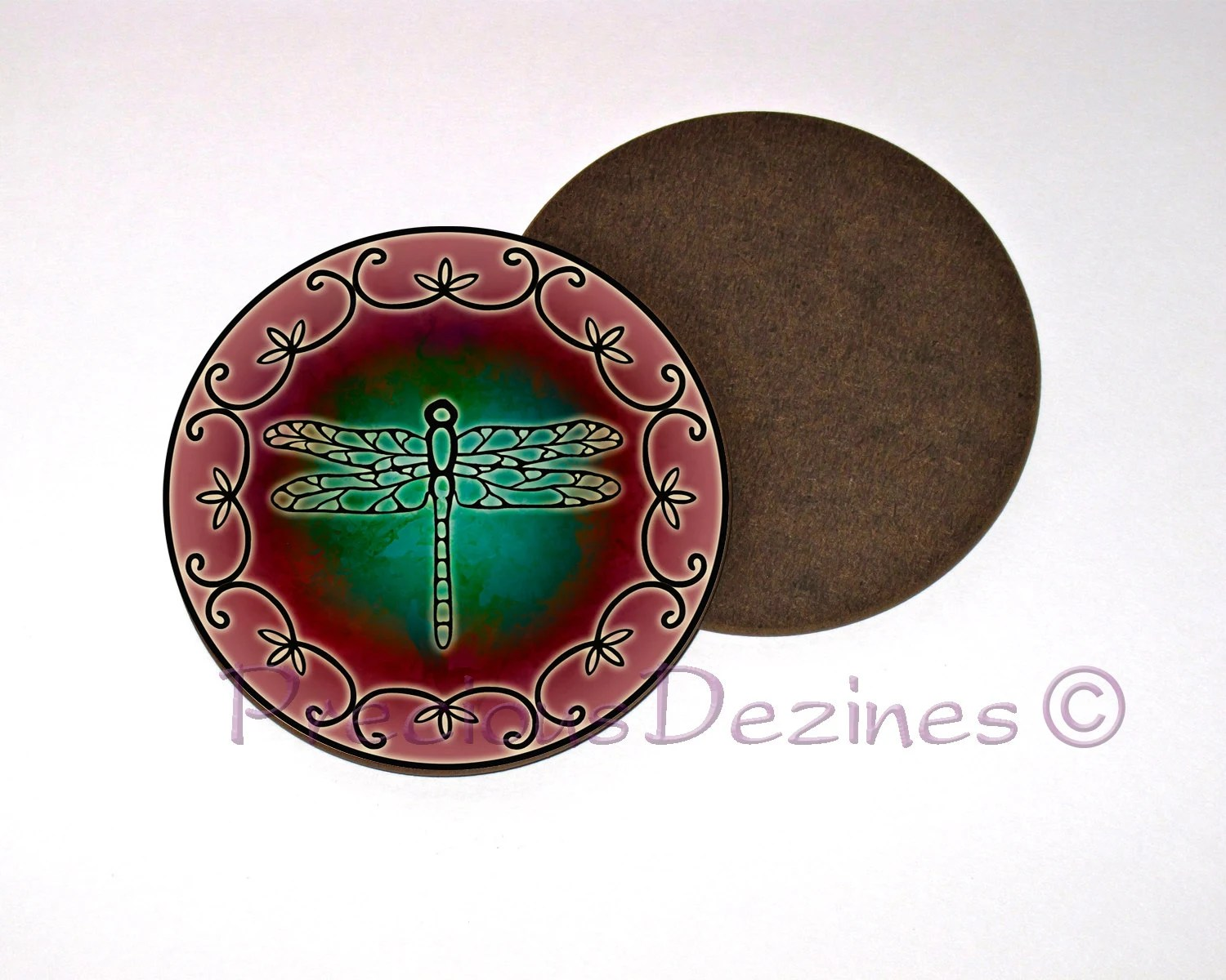 Best Dragonfly Watercolor Coaster Watercolor Dragonfly Decorative This Month