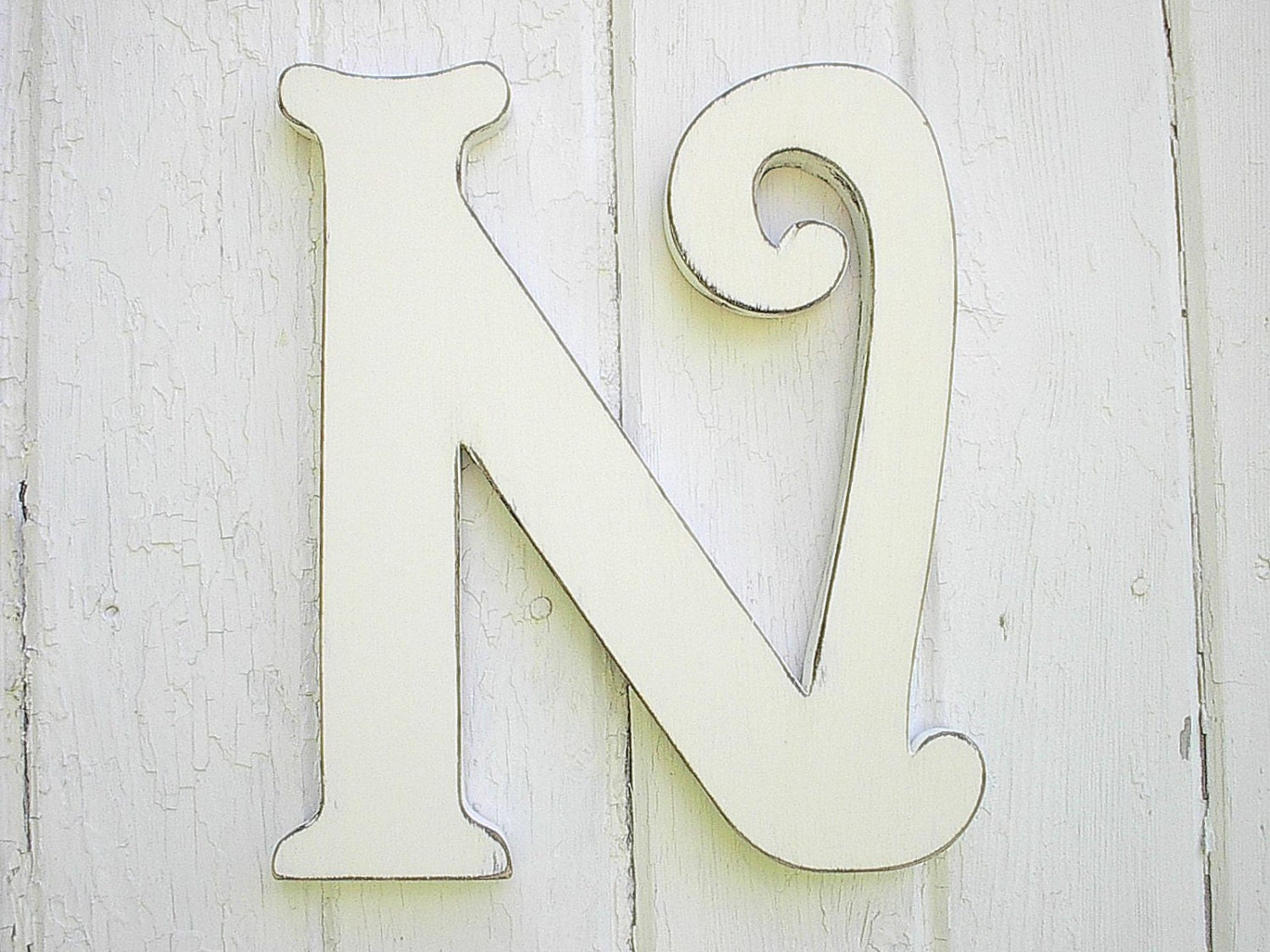 Best Wooden Letters Decorative N 12 Inch Distressed White Wall This Month